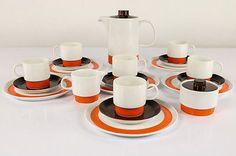 Melitta-Kaffee-Service-Bremen-Porzellan-Geschirr-21teilig-Orange-Braun-70er