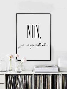 NON je ne regrette rien - Printable Wall Art - Typographic Print - Black and White - Minimalist Home Decor (7.58 EUR) by VisualPixie