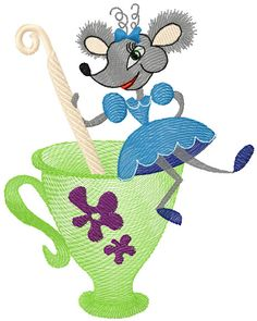 Mouse and tea pot machine embroidery design from Cartoon embroidery collection. Best for children clothes decoration. Any embroidery formats.