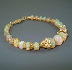 Opal Bracelet Ethiopian Fire Opals and Vermeil by JewelryByJacoby