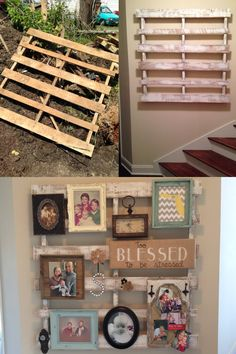 From discarded pallet to wall decor! Super easy DIY project. Locate old pallet, paint with a dry-brush technique (which just means not using a lot of paint on the brush so the wood still shows through), hang on wall, and add any decor you like! {Discarded to reDesigned}