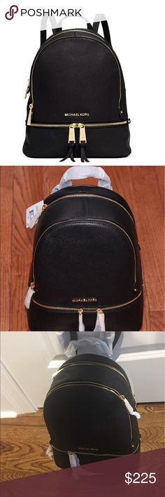"NWT Michael Kors Rhea Black Leather Backpack Bag Stunning! Laid-back yet luxe, our Rhea backpack redefines accessorizing. We love the combination of our signature logo print against the high-shine hardware. With its multiple zipper pockets and delicate shoulder straps, it's a feminine take on the enduring design. DETAILS • 100% Cow Leather • Gold-Tone Hardware  • 9.5""W X 12.5""H X 5""D  • Handle Drop: 8 • Exterior Details: 1 Front Zip Compartments  • Interior Details: 4 I terror Zip plus 2…"