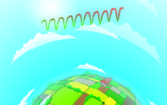 """""""Green Revolution"""" changes breathing of the biosphere. illustration showing argicultural fields, sky and sunshine. The agricultural """"Green Revolution"""" has contributed to deeper breathing of Earth's atmosphere. Green Revolution, Mission Accomplished, Natural World, Fields, Sunshine, Sky, Change, Illustration, Heaven"""