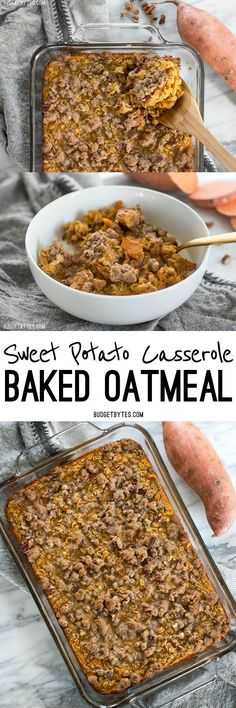 Sweet Potato Casserole Baked Oatmeal is a great way to have your favorite Thanksgiving side as a nutrient packed breakfast. BudgetBytes.com