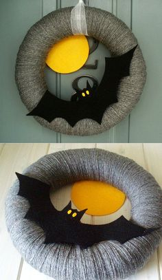 What about a cute bat wreath wrapped in ghostly gray yarn? This DIY wreath is a great addition to hang on bedroom door and wall. Halloween Crafts To Sell, Halloween Door Wreaths, Halloween Crochet, Halloween Activities, Diy Halloween Decorations, Holidays Halloween, Halloween Diy, Holiday Crafts, Halloween Halloween
