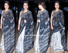 In a cotton sari and what looks like an Amrapali necklace, Tisca attended a recent event. Tisca Chopra At Ankur Arora Murder Case Press Meet Photo Credit: Viral Bhayani Indian Fashion, Womens Fashion, Bollywood Saree, Indian Attire, Saree Styles, Cotton Saree, Indian Sarees, Divas, Embroidery Designs