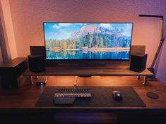 Computer Desk Setup, Gaming Room Setup, Pc Setup, Small Office Design, Office Interior Design, Closet Office, Office Desk, L Shaped Corner Desk, Desk Inspo