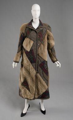 1988, America - Coat by Koos van den Akker - Fur, suede, wool tartan, wool twill, wool plain weave, cotton plain weave, and synthetic net with supplementary weave