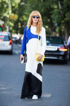 Pin for Later: 150+ Looks to Inspire Your Best Dressed Summer Yet  Take an elegant dress from night to day by adding sneakers, sunglasses, and bold accessories.