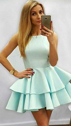 Mint Homecoming Dresses, Prom Dresses, Mini Dresses, Dance Dresses, Blue Dresses, Formal Dresses, Dresses Short, Green Satin, Ruffles