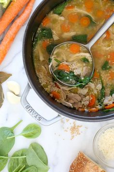 Chicken Soup with Spinach and Whole Wheat Acini di Pepe | Skinnytaste