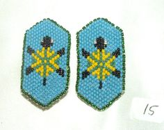 "Adorable little girls barrette set  2x1"" Native American made. Turtles Metal Snap clasp closure Sewn to leather backing. $24.95 w/ free shipping #barrette #beadwork #nativeamerican"