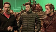'Tony Stark', 'Peter Parker'/'Spider-Man', and 'Peter Quill' on the set of 'Avengers: Infinity War' (2018)