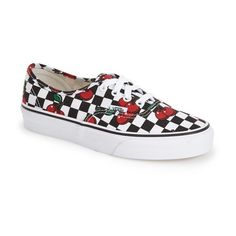Vans 'Authentic - Cherry' Sneaker found on Polyvore featuring polyvore, fashion, shoes, sneakers, red trainer, canvas lace up sneakers, cherry shoes, red shoes and vans footwear
