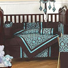 *Discontinued* Bella Turquoise and Brown Damask 9 Piece Crib Bedding Set Custom Baby Bedding, Baby Bedding Sets, Crib Sets, Baby Boy Rooms, Baby Cribs, Baby Room, Aqua Bedrooms, Brown Crib, Having A Baby Boy