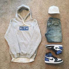 75c51aaaf Kith Hoodie/Jordan 1 x Fragments/ denim+ white cap Outfits Hombre, Swag  Outfits
