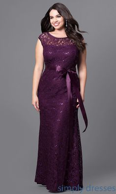 Shop sequined-lace long formal dresses at Simply Dresses. Floor-length plus-size gowns under $100 with tied ribbon waists and sweetheart linings.