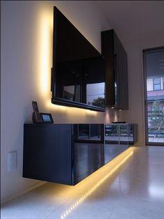 Album - 4 - Banc TV Besta Ikea, r& clients (s& Living Room Mirrors, Living Room Tv, Lights Behind Tv, Hypebeast Room, Kitchen Modular, Tv Wall Decor, Tv Unit Design, Home Theater Rooms, Kitchen Tops