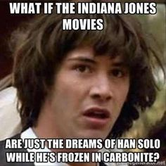 funny star wars pictures, what if the indiana jones movies were just the dreams of han solo while he was in kryo sleep nice one