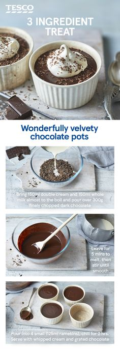 Craving a chocolate treat? You only need three ingredients to whip up these luxuriously rich chocolate pots - the ultimate dessert for any chocolate lover. What are you waiting for? Chocolate Pots Recipe, Chocolate Treats, Chocolate Chocolate, Delicious Desserts, Yummy Food, Tesco Real Food, Luxury Food, Keto, Desert Recipes