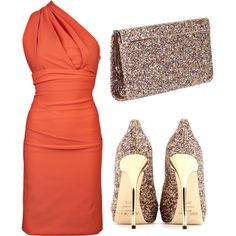 evening outfit - coral dress, glittery accessories