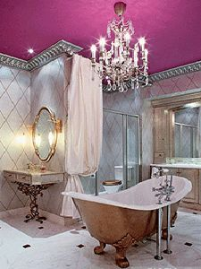luxury spa bath, old style elegance pops with purple ceiling, silver and gold, crystal chandelier ... glamorous <3 www.24kzone.com