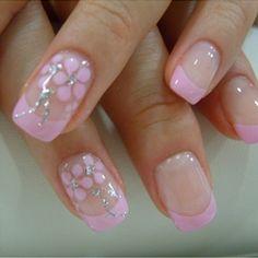 Art pink french manicure makeup-nails-etc Nail Art Designs, French Nail Designs, Nails Design, Pedicure Designs, Pink Design, Floral Design, Gel Nail Art, Easy Nail Art, Nail Polish