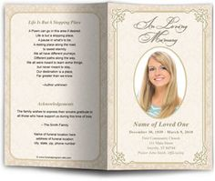 Beautiful golden flourish frame flourish design with accented corners sets the theme for this lovely funeral program template. The back of the funeral program continues with a coordinating frame background design perfect for a poem or short Order Of Service Template, Funeral Cards, Funeral Planning, Frame Background, Program Template, Postcard Design, Program Design, Along The Way, Alexandria