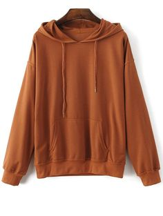$22.99 Casual Bat-Wing Sleeve Hoodie - BROWN M