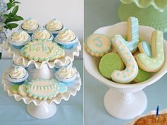 elegant glory blue green boy baby shower cupcakes and cookies