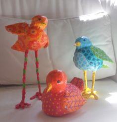 paper mache clay birds