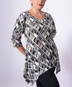 Loving this Black & Beige Geo Sidetail Tunic - Plus on #zulily! #zulilyfinds