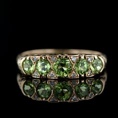 Estate. 8k Rose Gold, Peridot and Diamond Ring. -- Lang Antiques