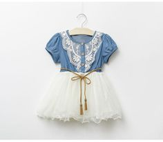 2015 New Fashion Girls Baby Lace Belt Tutu Cowboy Dress Children Patchwork Mesh Dresses for Girl Online with $9.84/Piece on Smartmart's Store   DHgate.com