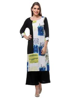 992b3092fef0 Casual Wear Black   White Colored Rayon Printed Stitched kurti with plazo