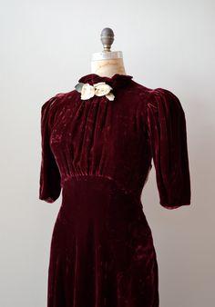 1930s dress / vintage 30s silk velvet dress / Billet-Doux dress