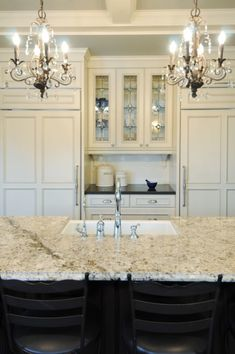 French Country Kitchen Lighting Chandeliers with Swarovski Crystal Heart Beads Above Moen Arbor Chrome Faucet on Bianco Romano Granite Countertops also Pendant Light Fixtures