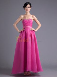 [US$159.00] Sweetheart Organza Ankle Length A line Evening Dress with Sequins