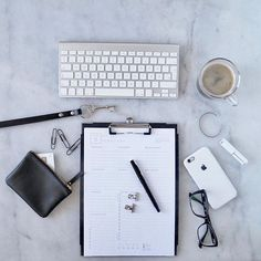 T U E S D A Y  S E T - U P // All essentials ready for a productive day - get it done! The downloadable planner sheets will make your day even more productive. #byALLTHINGS #Productivity #workspace #Monochrome