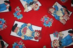 Raggedy Ann and Andy Flannel Quilt Blanket Vintage Fabric Collectible Raggedy