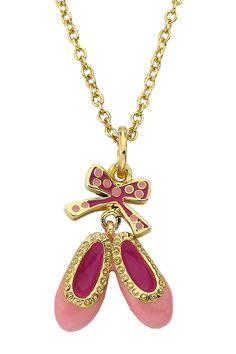 Little Miss Twin Stars Ballet Beauty Enamel Ballet Shoe & Polka Dot Bow Pendant Necklace · Style#  LMNE-10026 · Price $23.97 HauteLook