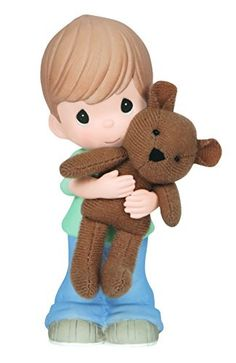 Precious Moments Boy Hugging Bear Figurine