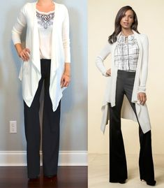 outfit post: white drapey cardigan, embroidered flutter sleeved blouse, black dress pants