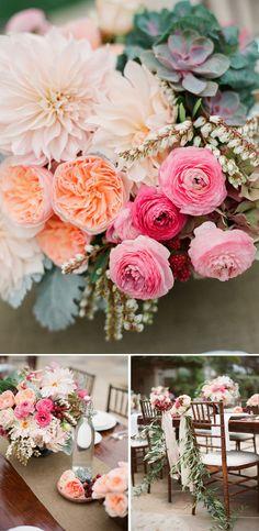 pink peach wedding flowers santa barbara