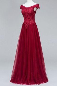 Modest Lace Prom Dress,Bodice Tulle Prom Dress,Custom Made Evening Dress