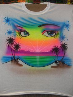 I like this design without the pair of eyes lol Airbrush Designs, Airbrush Art, Airbrush Shirts, Paint Shirts, Graffiti Lettering, Graffiti Alphabet, Bad Art, Bright Art, Hawaiian Tattoo