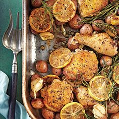 Lemon-Rosemary-Garlic Chicken and Potatoes - Easy Chicken Recipes - Southern Living - This winner of a chicken dinner is our new favorite roasting-pan supper. Recipe: Lemon-Rosemary-Garlic Chicken and Potatoes  Chicken Potatoes, Garlic Chicken, Roasted Chicken, Lemon Potatoes, Rosemary Potatoes, Roasted Potatoes, Roasted Garlic, Baked Chicken, One Dish Dinners