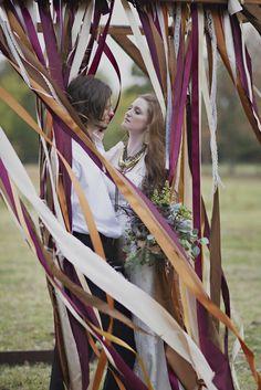 More fabric streamers. Boho Wedding Decorations, Wedding Themes, Wedding Styles, Wedding Events, Wedding Ideas, Beatnik Style, Bronze Wedding, Fall Color Palette, Vintage Bohemian