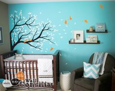 In Stock - $ 121.00 - www.wallconsilia.com Beautiful black nursery tree decal with white and orange leaves you will fill the babys room with joy and feel of nature. Indulge your little one's imagination with this stunning vinyl wall decal set perfect for any nursery or bedroom. This tree mural sticker features dreamy scene –what could a little kid love more? #DIY #HomeDecors #NurseryIdeas
