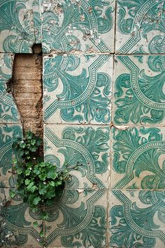 Turquoise tiles in Lisbon, Portugal, photo by Ernest McLeod